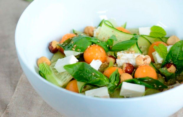 Salad with cucumber and melon